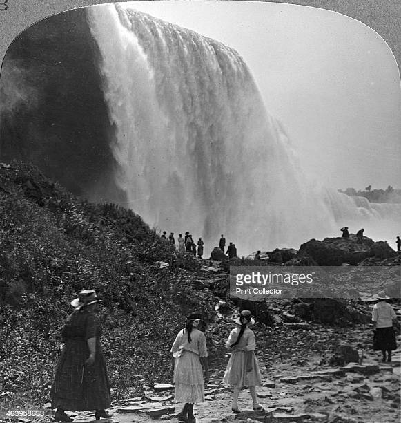 American Falls Niagara Falls New York USA Summer beauty of the enchanting cataract the American Falls rolling in majestic splendour Stereoscopic card...