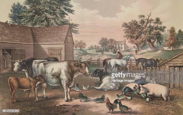 American Farm Yard Evening pub 1857 Currier Ives