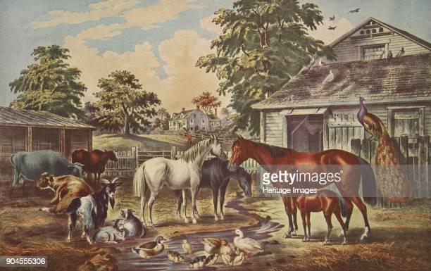 American Farm Yard Morning pub 1857 Currier Ives