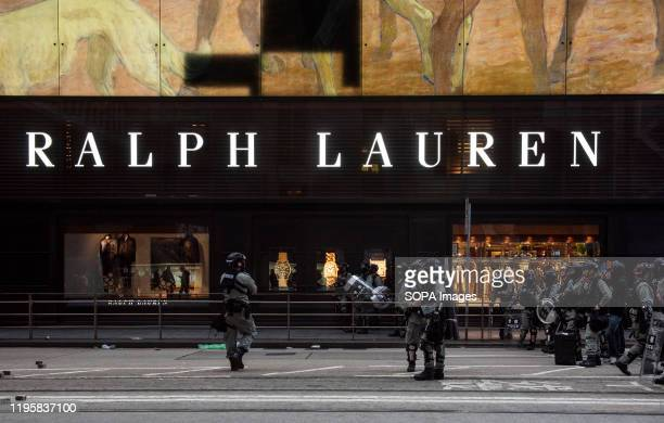 American fashion brand Ralph Lauren store seen in Hong Kong while police clear the streets after an anti-government protest in Central district, Hong...