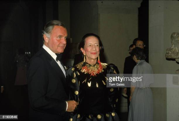 American fashion designer Bill Blass and French born fashion editor Diana Vreeland attend the opening of the Costume Institute of Metropolitan Museum...