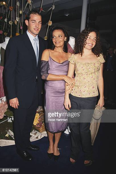 American fashion designer Diane von Furstenberg with her children Alex and Tatiana at the Furstenberg studio in the West Village New York City...