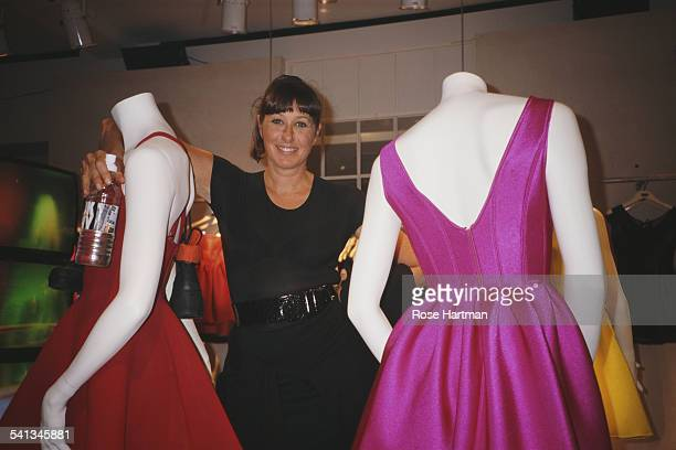 American fashion designer Donna Karan in the new DKNY store in Bloomingdales New York City circa 1988