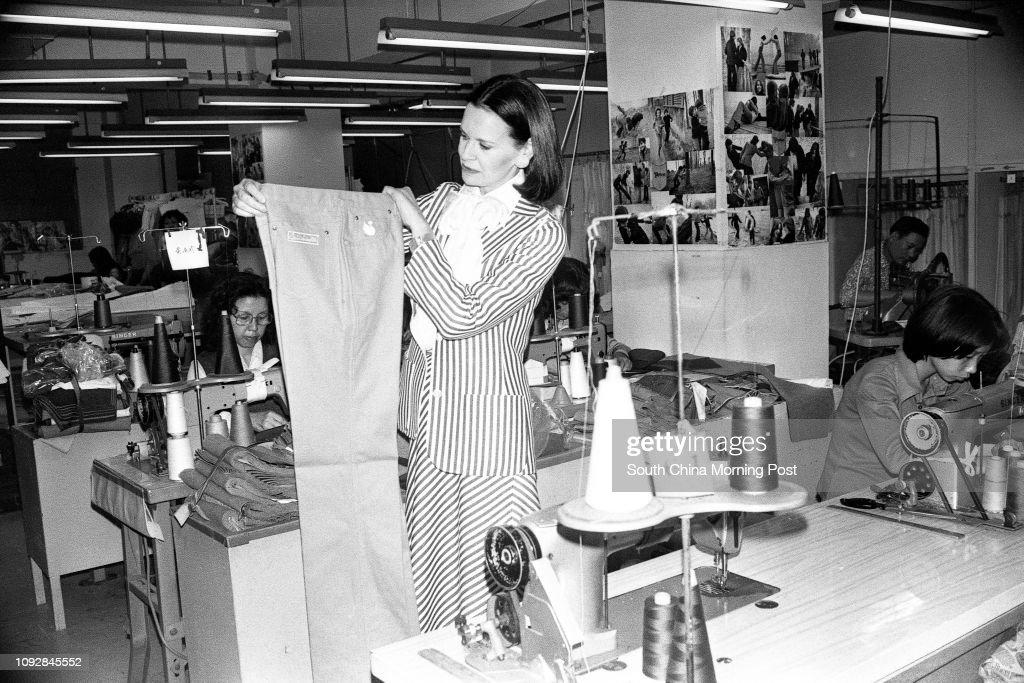 American fashion designer Gloria Vanderbilt visits Murjani, a Hunghom garment company where her jeans were made. 11JAN79 : News Photo