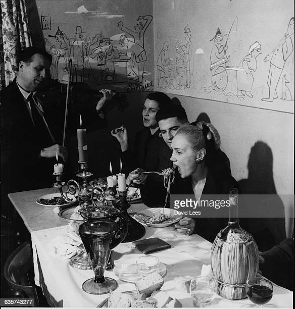 American fashion designer Irina Roublon dines at a restaurant in Florence, Italy.
