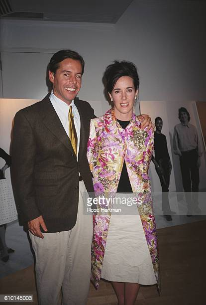 American fashion designer Kate Spade and husband Andy attend a DIFFA benefit at Steuben Glass Works, New York City, 2000.