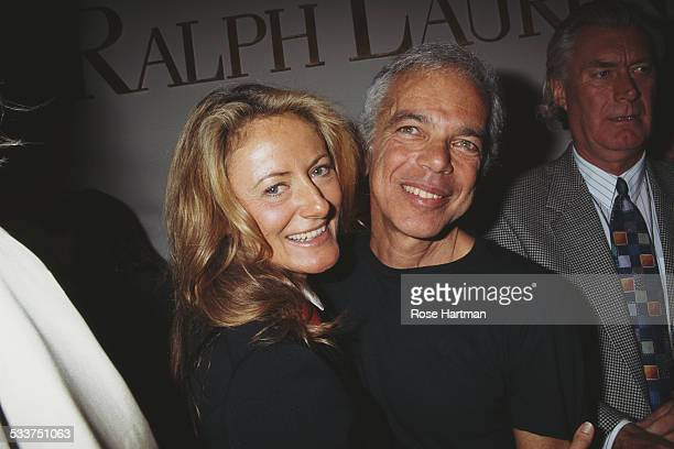 American fashion designer Ralph Lauren and his wife Ricky Anne LoewBeer at a preview for the Ralph Lauren Spring 1995 collection USA circa 1994