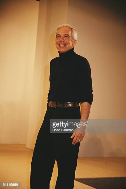 American fashion designer Ralph Lauren on the catwalk after his fashion show, USA, circa 1995.