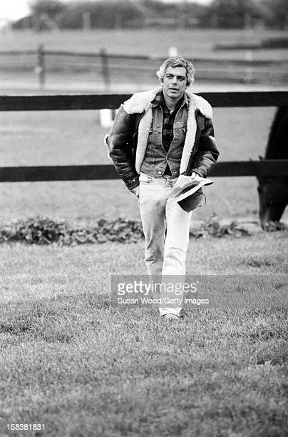 American fashion designer Ralph Lauren walks near his home East Hampton in November 1977