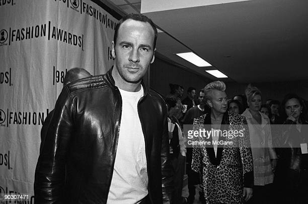 American fashion designer Tom Ford backstage at the VH1 Fashion Awards in October 1998 in New York City, New York.