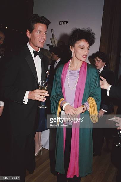 American fashion designers Calvin Klein and Diane von Furstenberg at a function in Soho New York City 1982