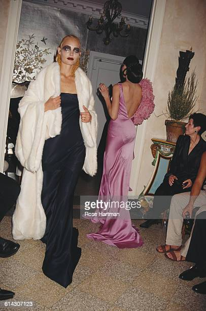 American fashion model Amber Valletta at a John Galliano fashion show circa 1995
