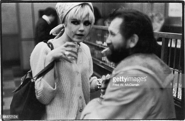 American fashion model and actress Edie Sedgwick and film director Ray Wisniewski talk together at The Dom where they attended a production of pop...