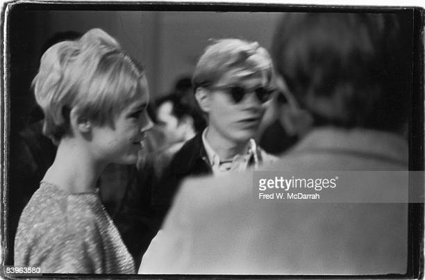 American fashion model and actress Edie Sedgwick and pop artist Andy Warhol ata a partyu in Warhol's studio the Factory New York New York February 8...