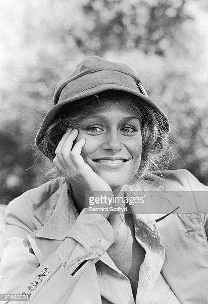 American fashion model and actress Lauren Hutton poses for a photograph with her head on her hand Central Park New York 1970s