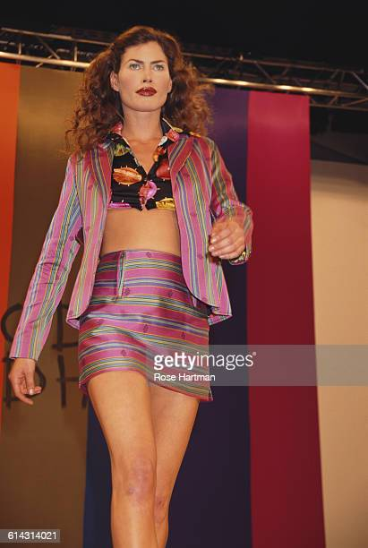 American fashion model Carré Otis at the Todd Oldham Spring 1995 fashion show New York City 1994