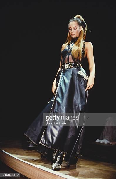 American fashion model Christy Turlington at a Versace show circa 1993 New York City