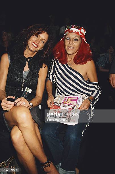 American fashion model Janice Dickinson with American fashion designer Patricia Field at the Carlos Miele Spring 2003 fashion show New York City 21st...