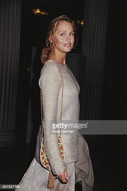 American fashion model Lauren Hutton attends a gala at the Metropolitan Museum of Art in New York City 1992