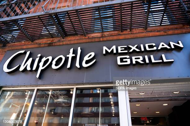 American fast casual restaurants chain Chipotle Mexican Grill logo seen in Midtown Manhattan