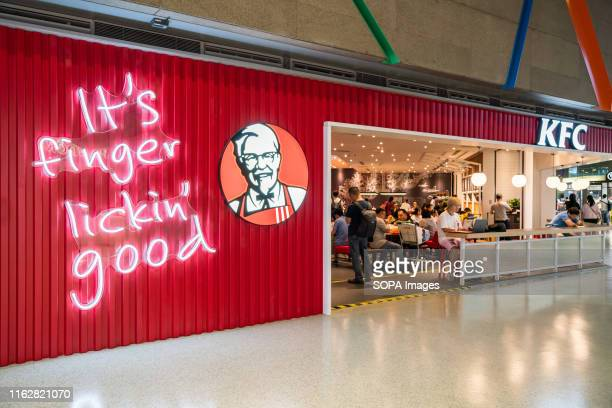 American fast food restaurant chain Kentucky Fried Chicken or KFC restaurant and logo seen at Shanghai Hongqiao International Airport