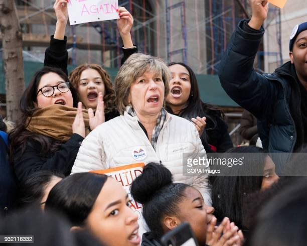 American Federation of Teachers President Randi Weingarten at the National School Walkout a 17 minute walkout by students in honor of the 17 people...