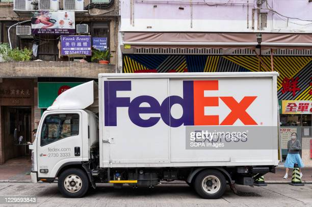 American FedEx Express delivery truck seen in Hong Kong