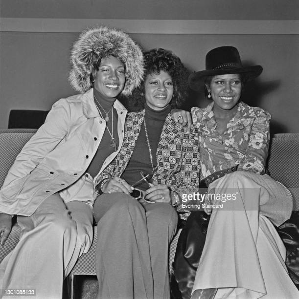 American female singing group The Supremes, UK, 9th March 1973. From left to right, they are Mary Wilson , Lynda Laurence and Jean Terrell.