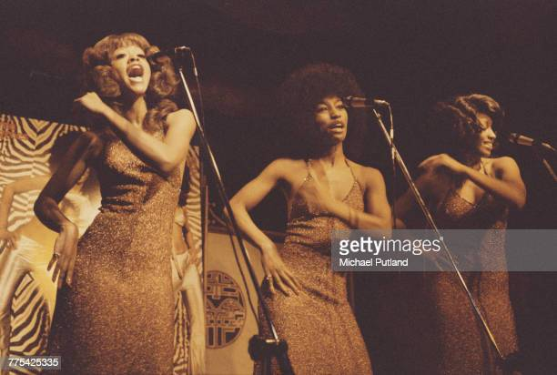 American female vocal group The Three Degrees perform on stage in London on 6th March 1974 The group are from left Valerie Holiday Fayette Pinkney...