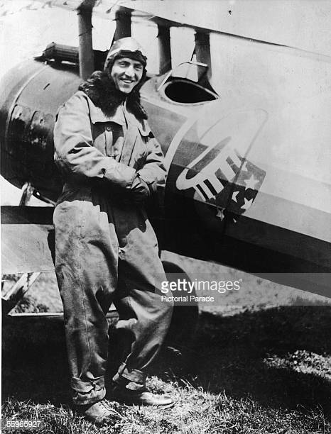 American fighter pilot Eddie Rickenbacker a commanding officer in the US 94th Aero Pursuit Squadron poses next to his Nieuport 28 N6169 during World...