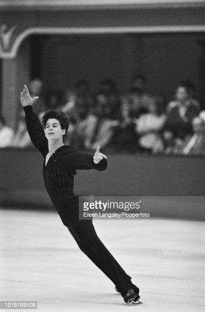 American figure skater Christopher Bowman competes for the United States in the Men's singles event at the St Ivel International figure skating...