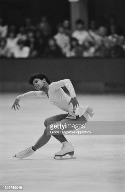 American figure skater Debi Thomas competes for the United States in the Ladies singles event at the St Ivel International figure skating competition...
