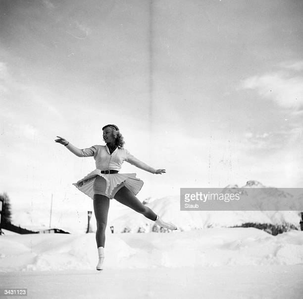 American figure skater Gretchen Merrill in St Moritz Switzerland for the Winter Olympics