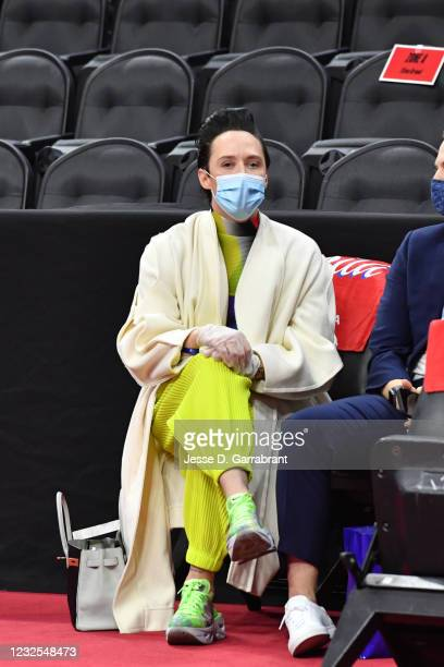 American figure skater, Johnny Weir attends a game on Pride Night between the Oklahoma City Thunder and the Philadelphia 76ers on April 26, 2021 at...