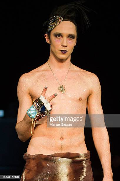 American figure skater Johnny Weir walks the runway at the Richie Rich Fall 2011 fashion show during MercedesBenz Fashion Week at Hammerstein...