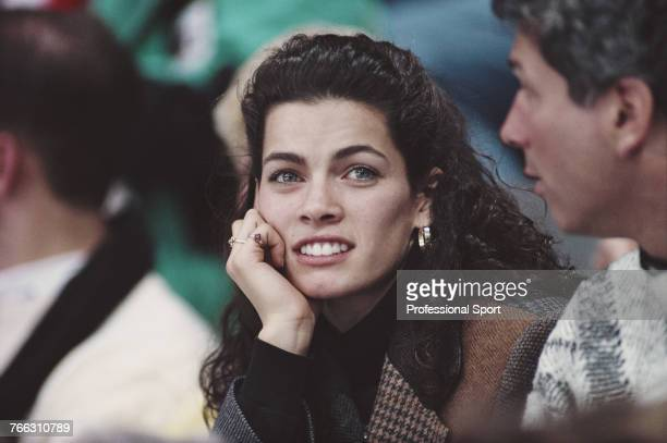 American figure skater Nancy Kerrigan of the United States team pictured watching competition in the figure skating events at the 1994 Winter...