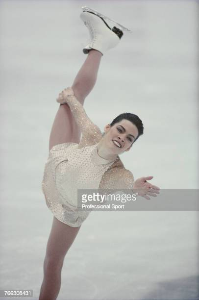 American figure skater Nancy Kerrigan of the United States team pictured during competition to finish in 2nd place to win the silver medal in the...