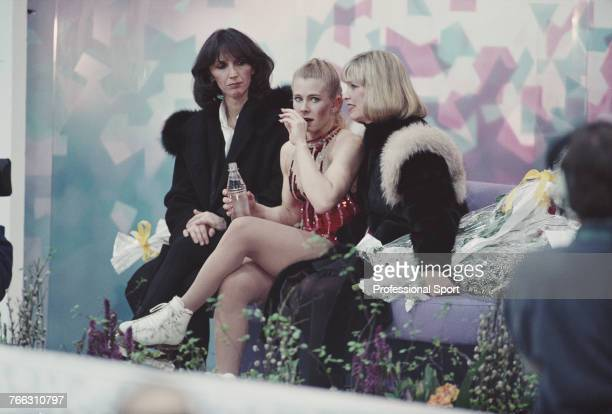 American figure skater Tonya Harding of the United States team pictured after completing her routine during competition in the Ladies singles figure...