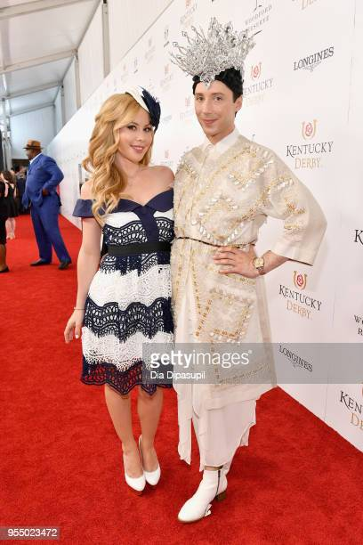 American figure skaters Tara Lipinski and Johnny Weir attend Kentucky Derby 144 on May 5 2018 in Louisville Kentucky