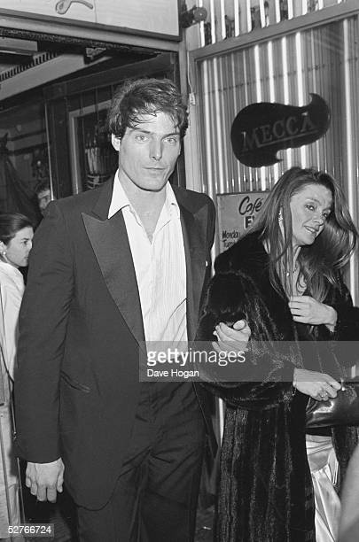 American film actor Christopher Reeve with his girlfriend Gae Exton circa 1985