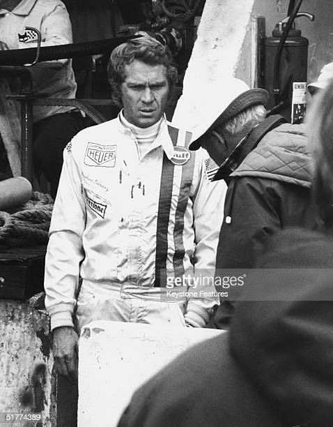 American film actor Steve McQueen on the set of his motorracing film 'Le Mans' at the Sarthe race track France October 1970