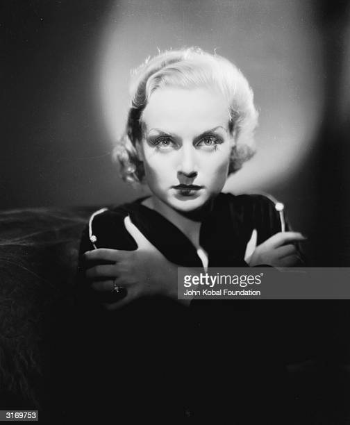 American film actress Carole Lombard encircled with a halo of light She is starring as Roma Courtney in 'Supernatural' directed by Victor Halperin