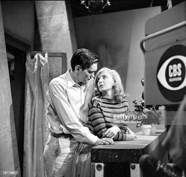American film actress Joanne Woodward and American television actor Dick York appear during production of the episode 'A Man's World' of the CBS...
