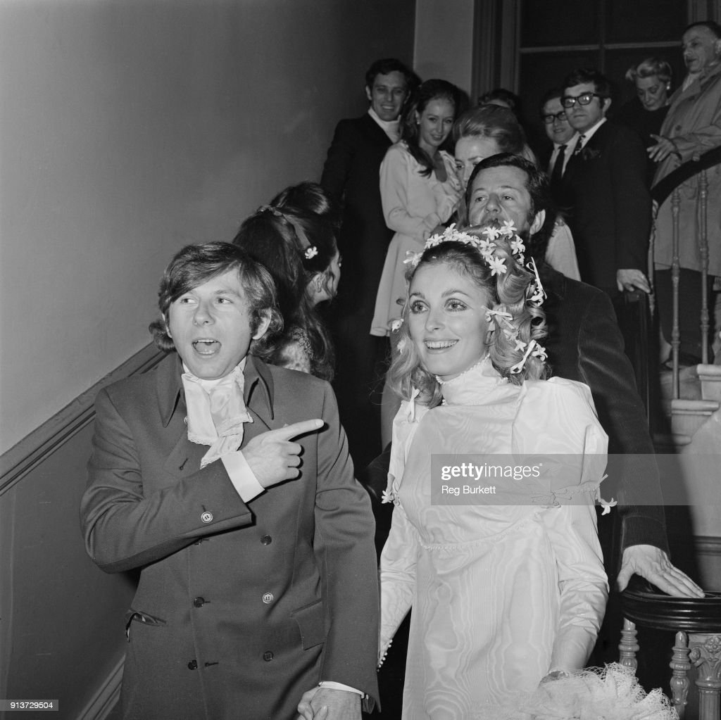 American film actress Sharon Tate (1943 - 1969) (right) with Polish film director Roman Polanski, after their wedding, London, UK, 20th January 1968.