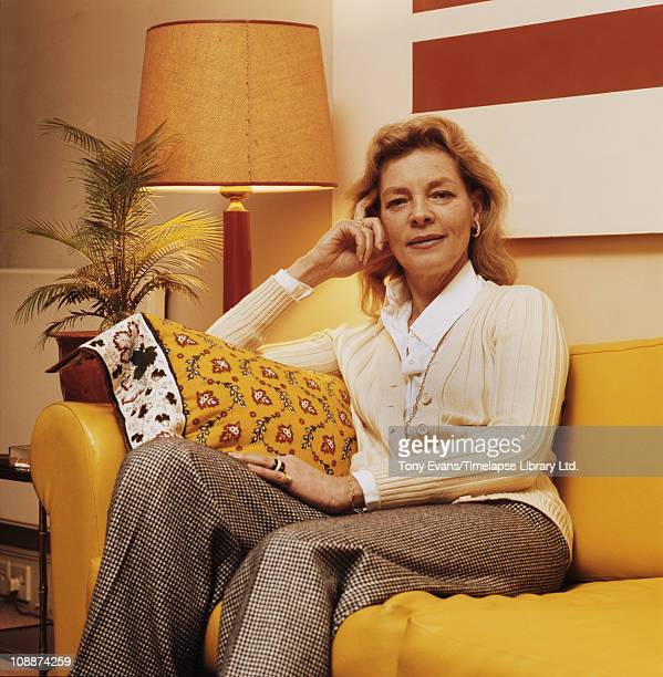 American film and stage actress Lauren Bacall 1974 She was married to Humphrey Bogart and Jason Robards