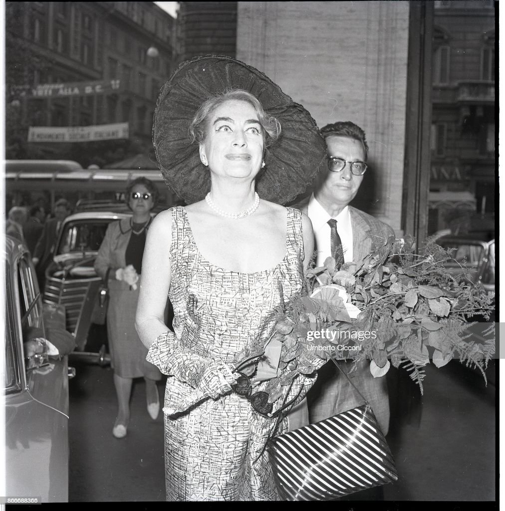 American film and television actress Joan Crawford in Via Veneto, Rome May 1962.