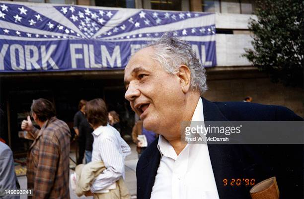 American film critic Andrew Sarris outside an unspecified venue during the New York Film Festival New York New York September 20 1990