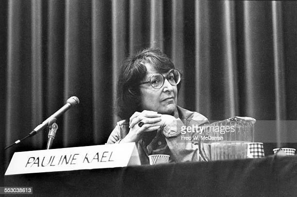 American film critic Pauline Kael sits on a panel at the MORE journalism conference New York New York May 10 1975