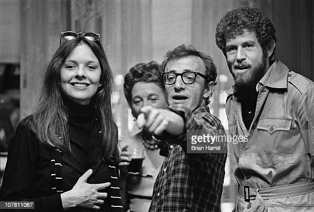 American film director and actor Woody Allen and actors Diane Keaton and Tony Roberts during the filming Allen's movie 'Annie Hall' New York New York...