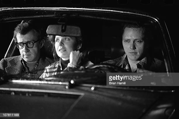 American film director and actor Woody Allen and actors Diane Keaton and Christopher Walken in a car in a scene from Allen's movie 'Annie Hall' New...